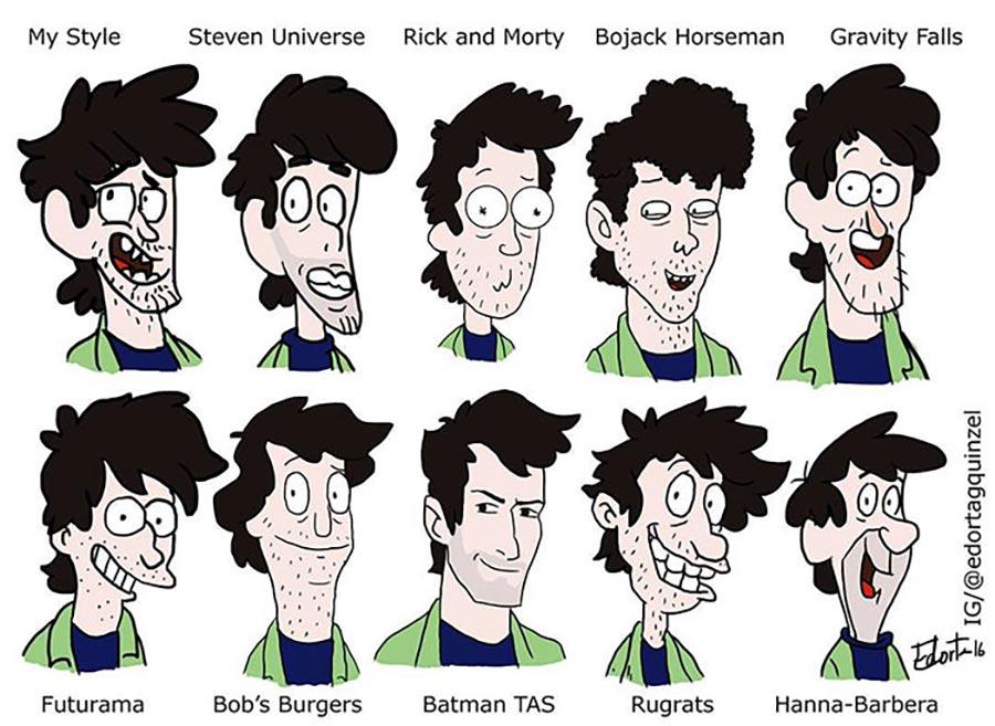 Ein Charakter in unterschiedlichen Zeichenstilen stylechallenge_05