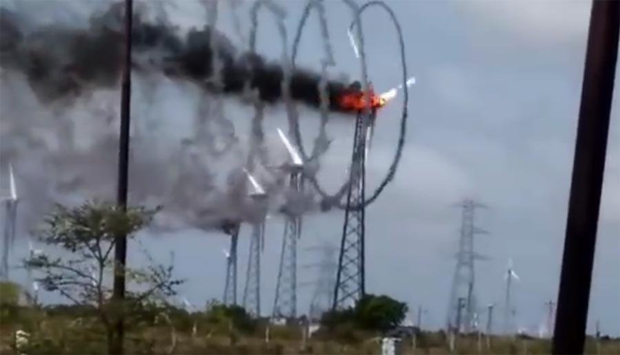 Ein brennendes Windrad