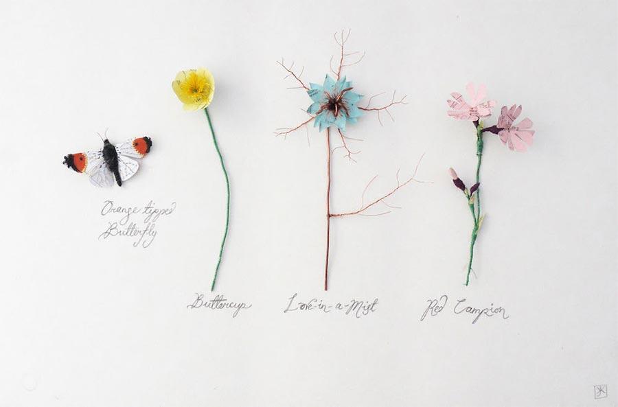 Blumen, Pilze und Insekten aus Papier Kate-Kato_05
