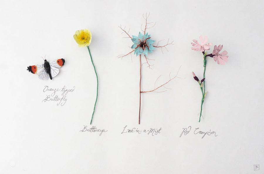 Blumen, Pilze und Insekten aus Papier Kate-Kato_06
