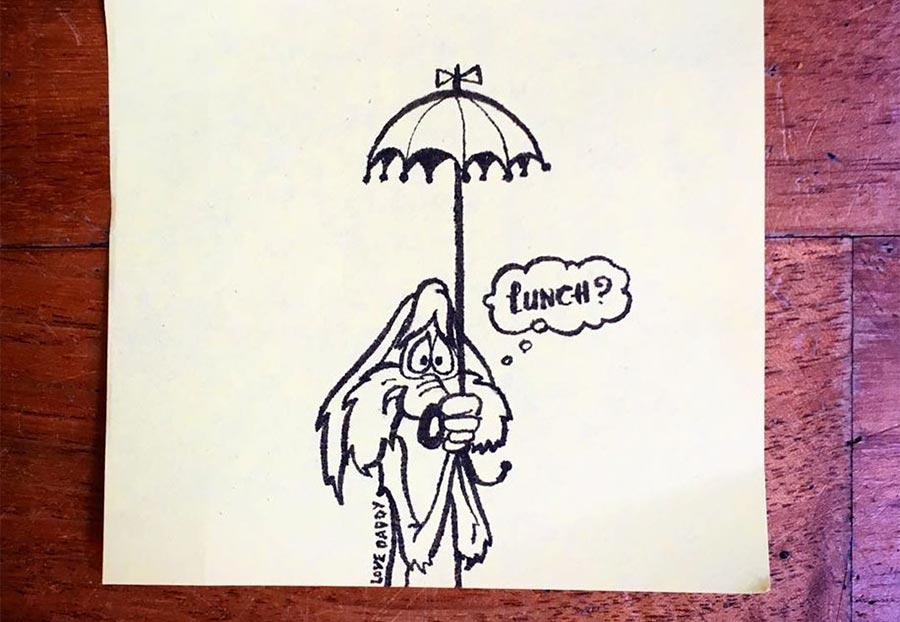 Tochter bekommt täglich neue Post-Its in die Pausenbrot-Tüte lunch-bag-art_01