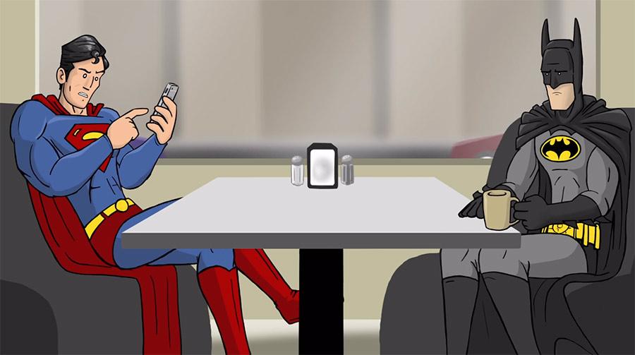 Batman und Superman reden über Pokémon Go super-cafe-batman-pokemon-go