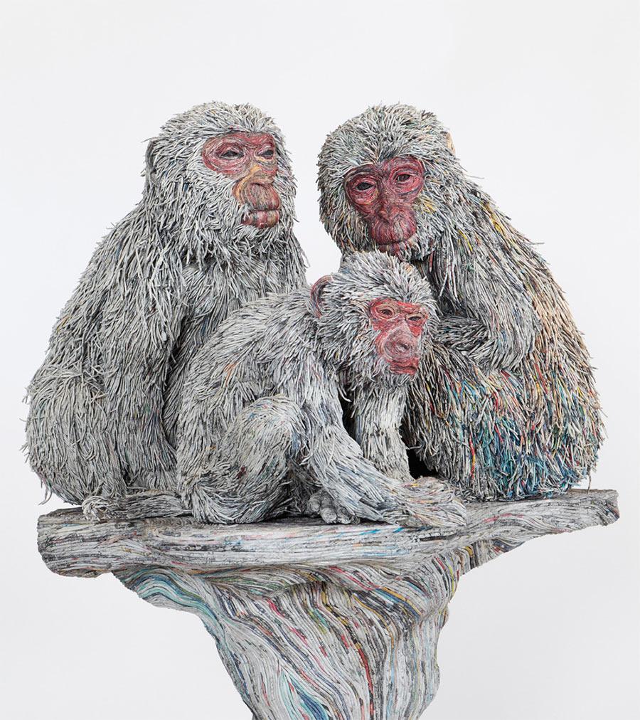 Tierskulpturen aus Zeitungsröllchen Chie-Hitotsuyama_02