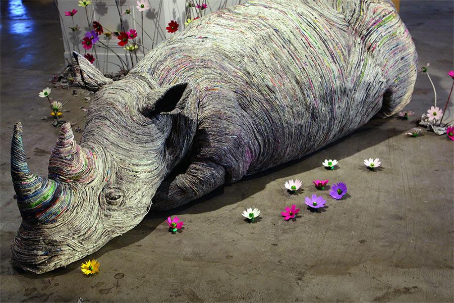 Tierskulpturen aus Zeitungsröllchen Chie-Hitotsuyama_04