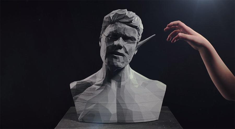 Stopmotion-animierte 3D-Druck-Büsten