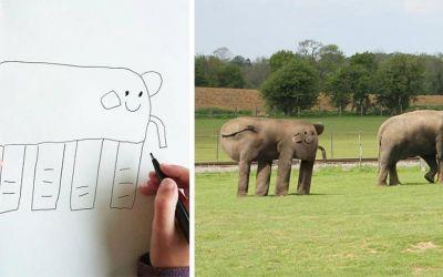 Vater photoshopped Zeichnungen seines 6-jährigen Sohnes in die Realität