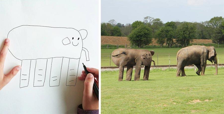 Vater photoshopped Zeichnungen seines 6-jährigen Sohnes in die Realität thingsihavedrawn_01