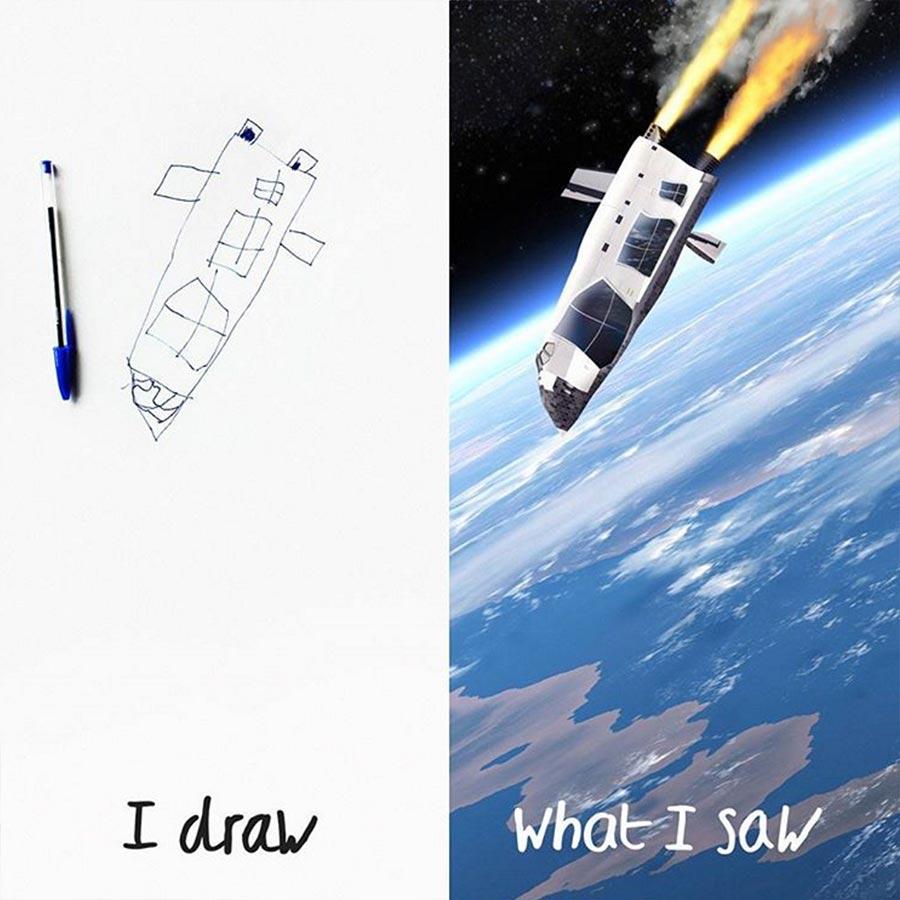 Vater photoshopped Zeichnungen seines 6-jährigen Sohnes in die Realität thingsihavedrawn_04