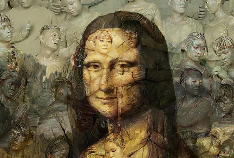 Gemälde-Klassiker mit bemalten Menschen nachgebaut