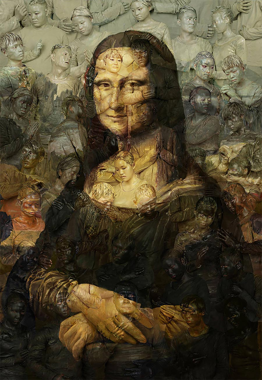Gemälde-Klassiker mit bemalten Menschen nachgebaut art-hacke-liu-bolin_02