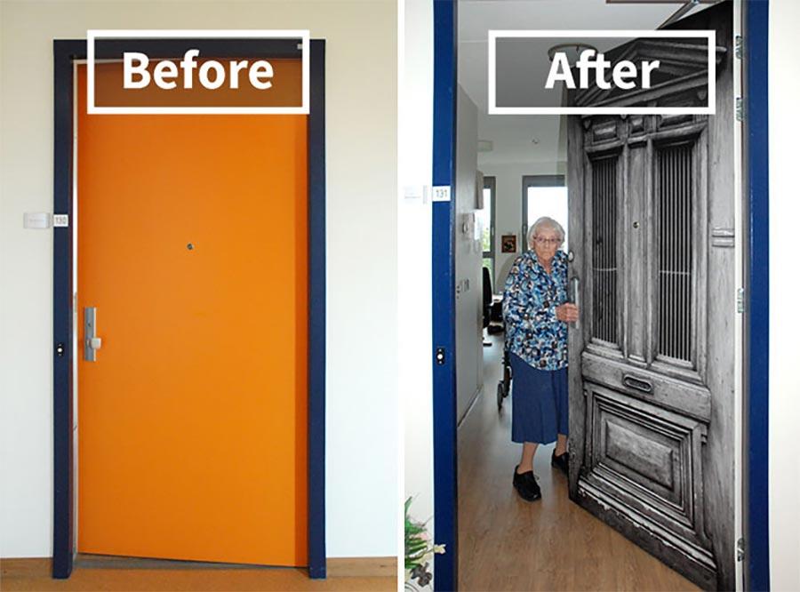 Demenz-Heim-Bewohner erhalten ihre alte Tür demenz-tueren_01