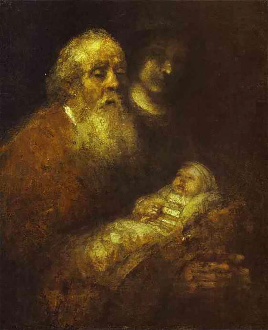 Die letzten Werke berühmter Maler 04_Rembrandt-Simeon-With-The-Christ-Child-In-The-Temple-Unfinished-1669