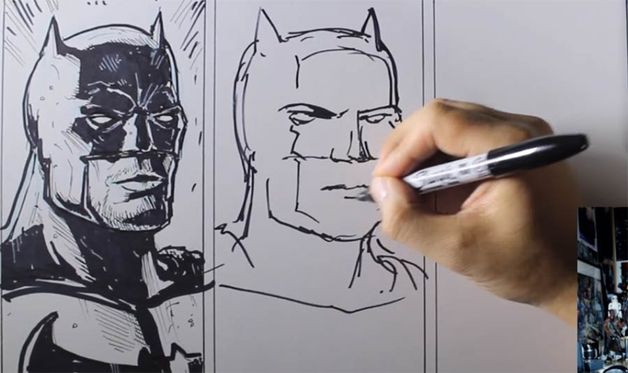 Batman-Portrait in 10 Min., 1 Min. und 10 Sek. zeichnen 10-minutes-1-minute-10-second-challenge