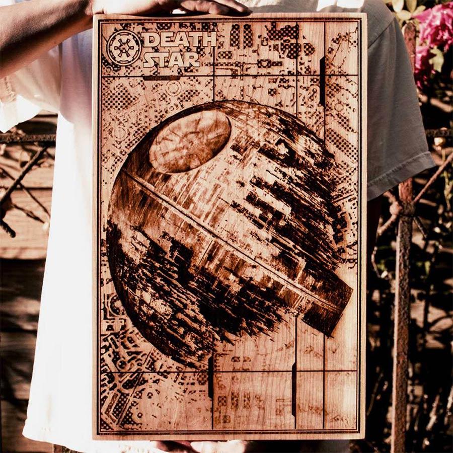 Coole Holz-Laser-Gravur-Kunst Spitfirelabs_wooden-retro_04