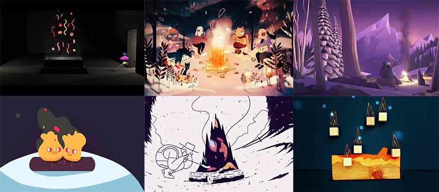 Ganz viele animierte Kaminfeuer