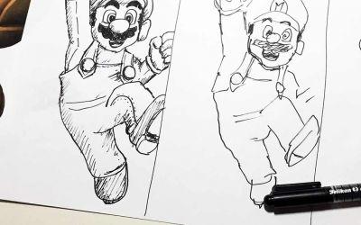 Super Mario in 10 Min., 1 Min. und 10 Sek. zeichnen
