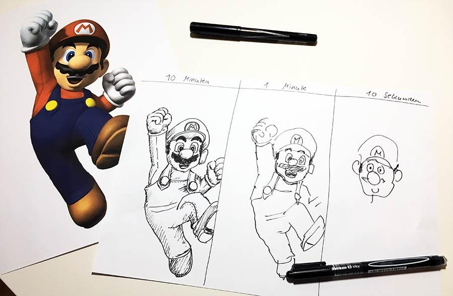 Super Mario in 10 Min., 1 Min. und 10 Sek. zeichnen Mario10_02