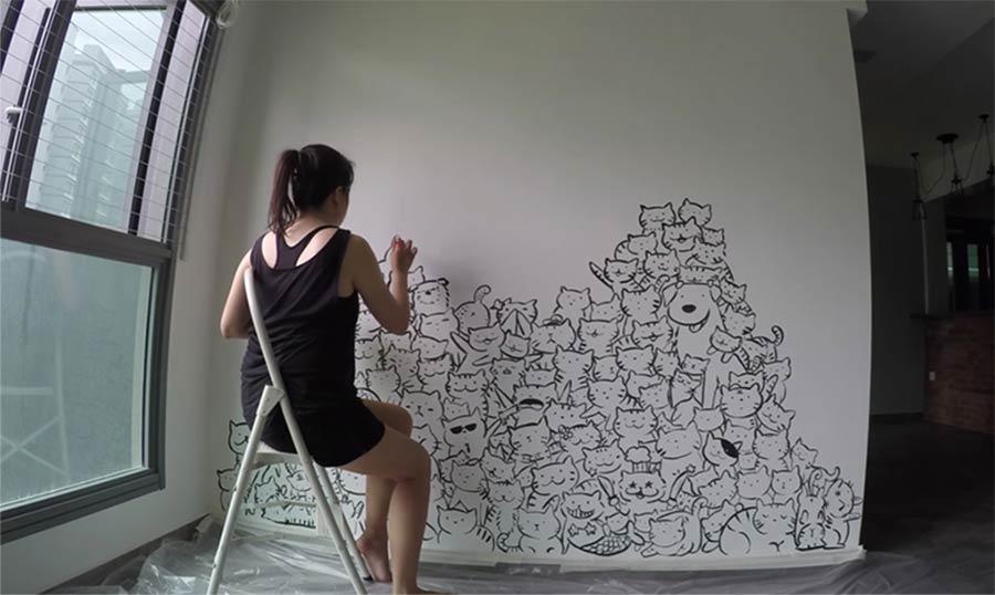 Katzenwandmalerei im Zeitraffer