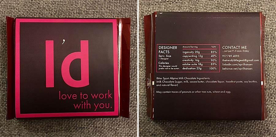 Kreative Visitenkarten aus Schokolade