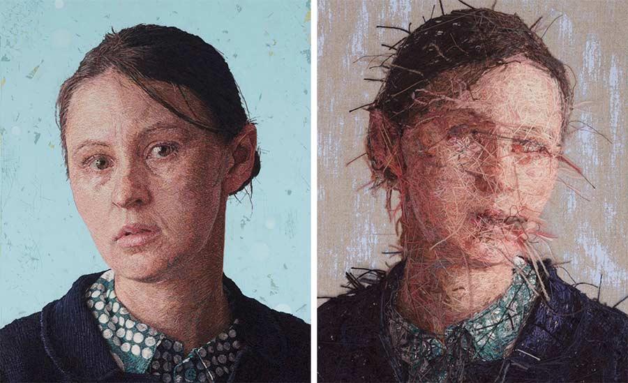 Ungemein detailliert gestickte Portraits