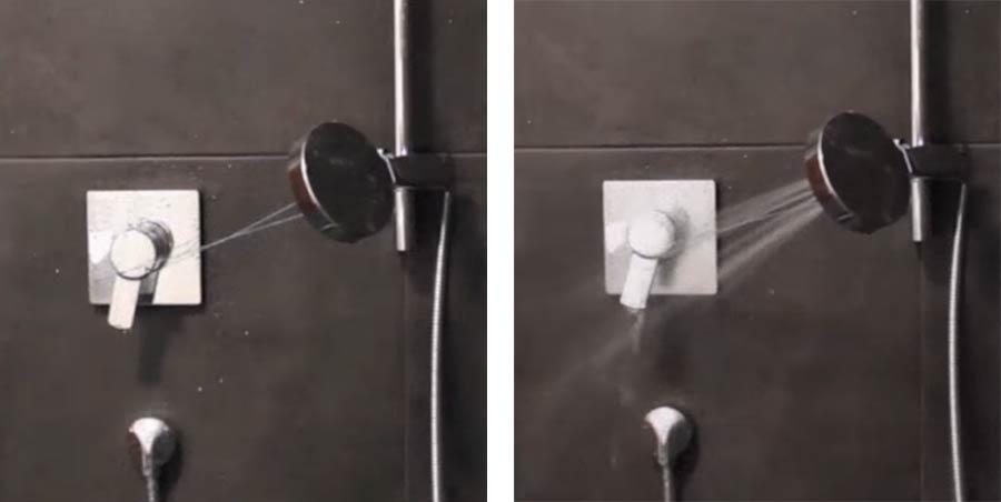 Gummiband sorgt für unendlichen Duschstrahl-Loop rubberbandshowerloop
