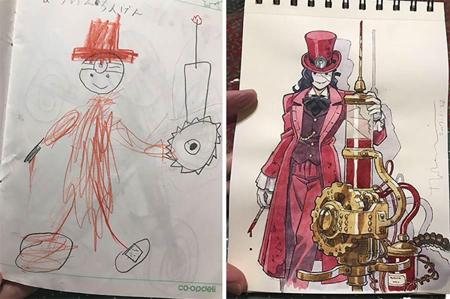 Vater macht aus den Kritzeleien seines Sohnes Anime-Kunst