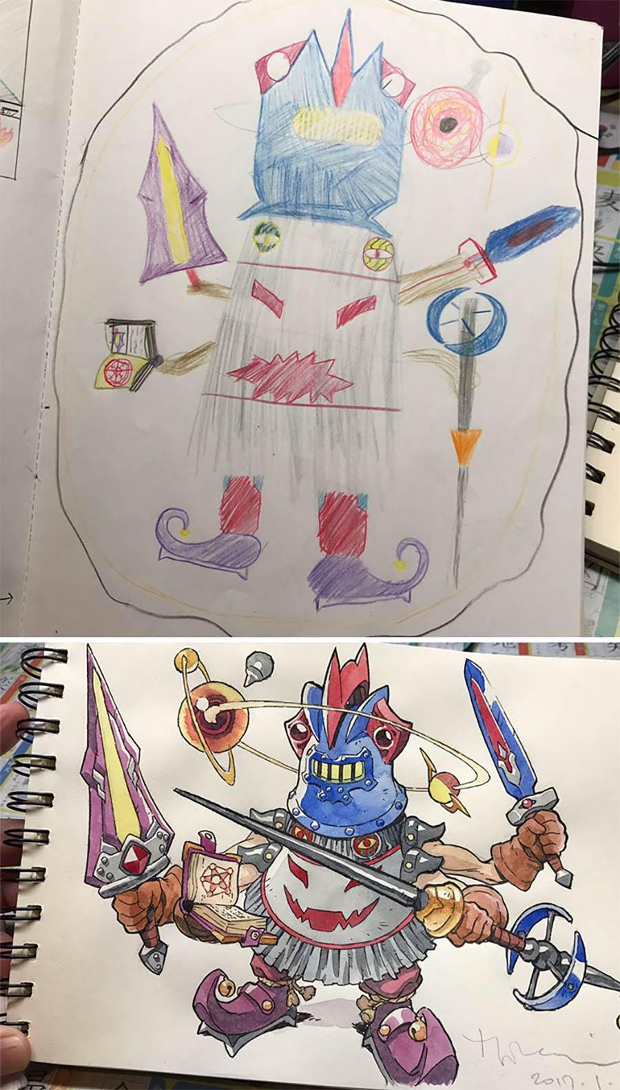 Vater macht aus den Kritzeleien seines Sohnes Anime-Kunst thomas-romain_03