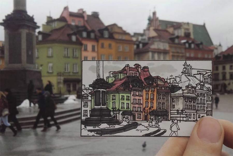 Jede Stadt der Europareise zeichnerisch festhalten