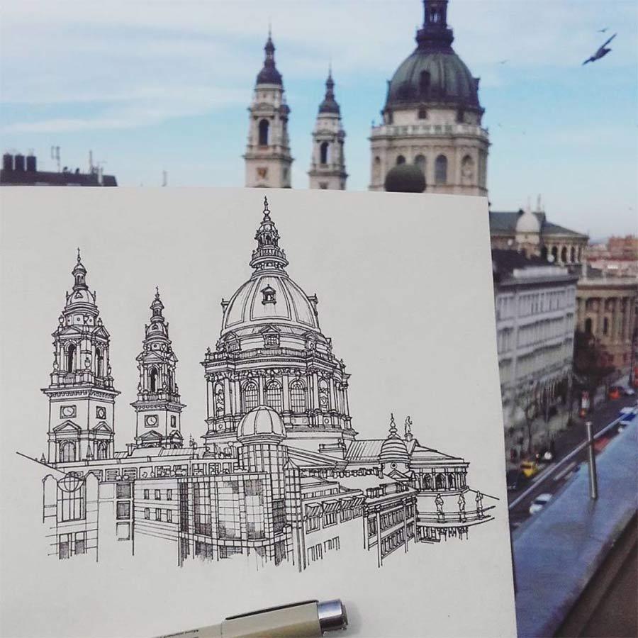 Jede Stadt der Europareise zeichnerisch festhalten drawbackpacking-Maxwell-Tilse_02