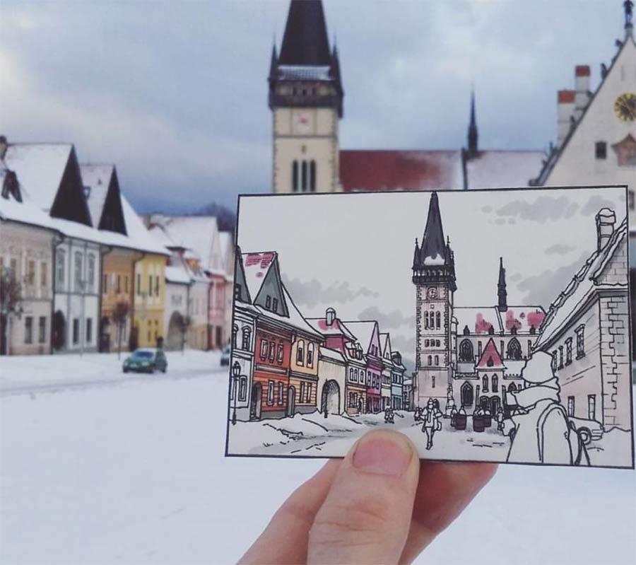Jede Stadt der Europareise zeichnerisch festhalten drawbackpacking-Maxwell-Tilse_04