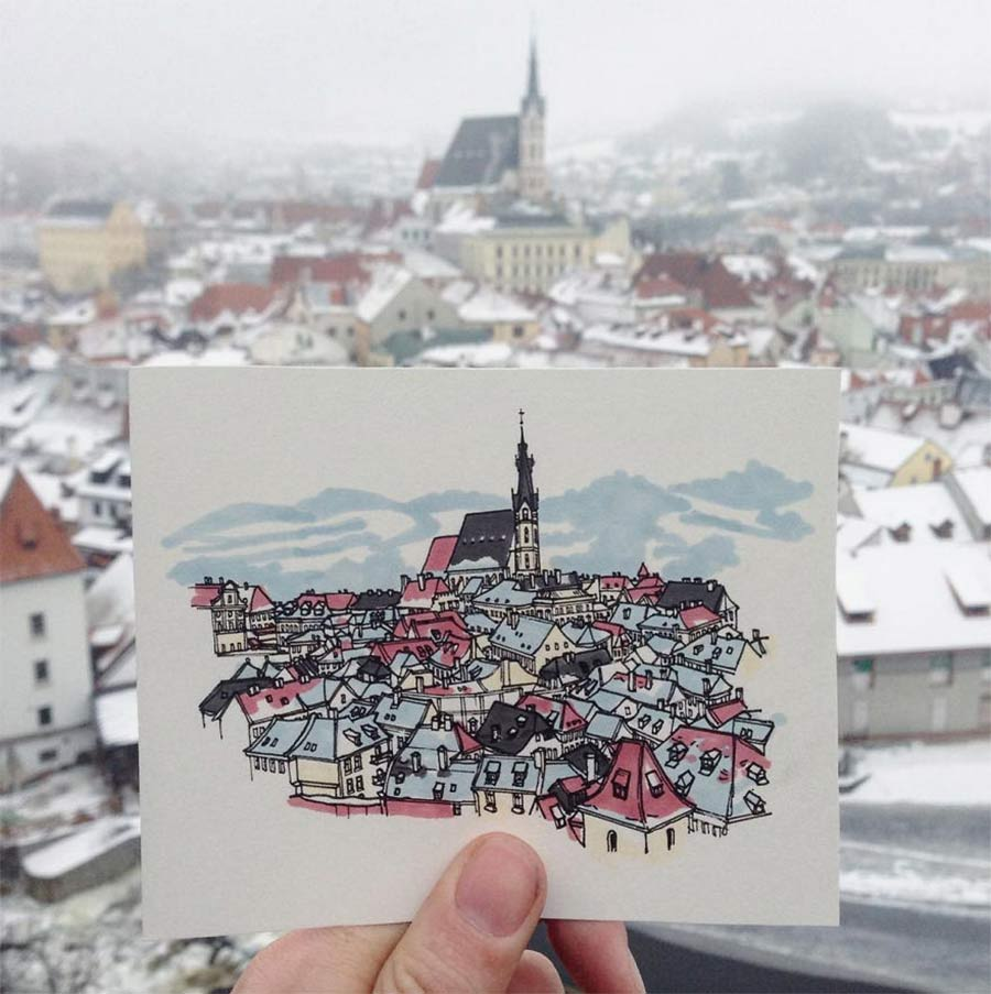 Jede Stadt der Europareise zeichnerisch festhalten drawbackpacking-Maxwell-Tilse_06