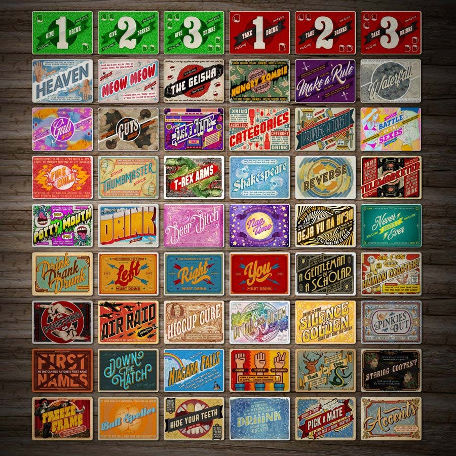 Drink-O-Tron ist ein sehr schön gestaltetes Trink-Kartenspiel Drink-o-tron-game_08