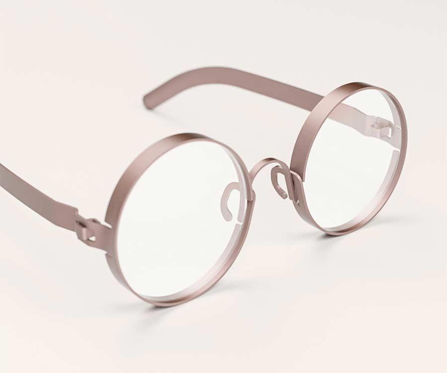 Ganzes Brillengestell aus einer Lage Metall