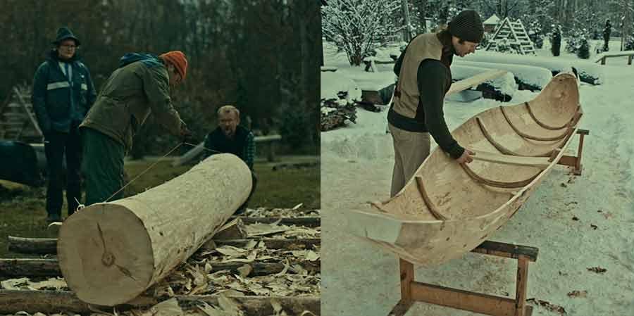 Aus einem Baumstamm wird ein Kanu