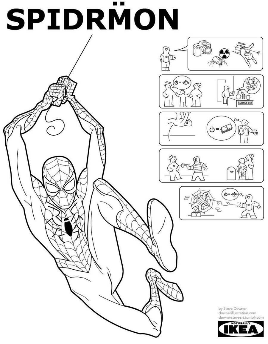 Superheldencomics als IKEA-Anleitung steven-downer-superheroes-ikea_03