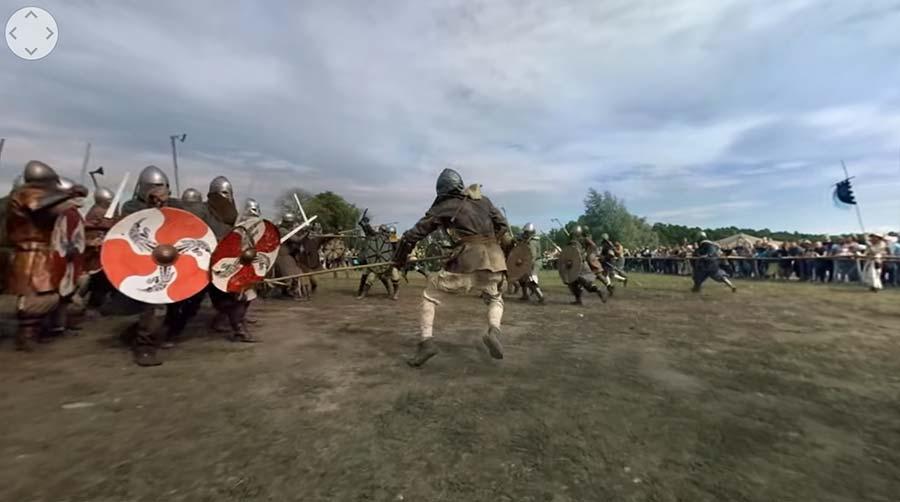 360°-Video einer Wikingerschlacht