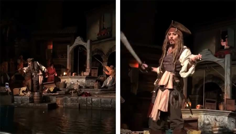 Johnny Depp überrascht Disneyland-Besucher als Jack Sparrow Johnny-Depp-surprises-Disneyland-guests-as-Jack-Sparrow-in-Pirates-of-the-Caribbean-ride