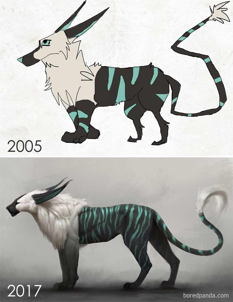 Jahre später das identische Motiv nochmals malen draw-this-again_04