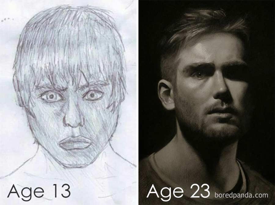 Jahre später das identische Motiv nochmals malen draw-this-again_05