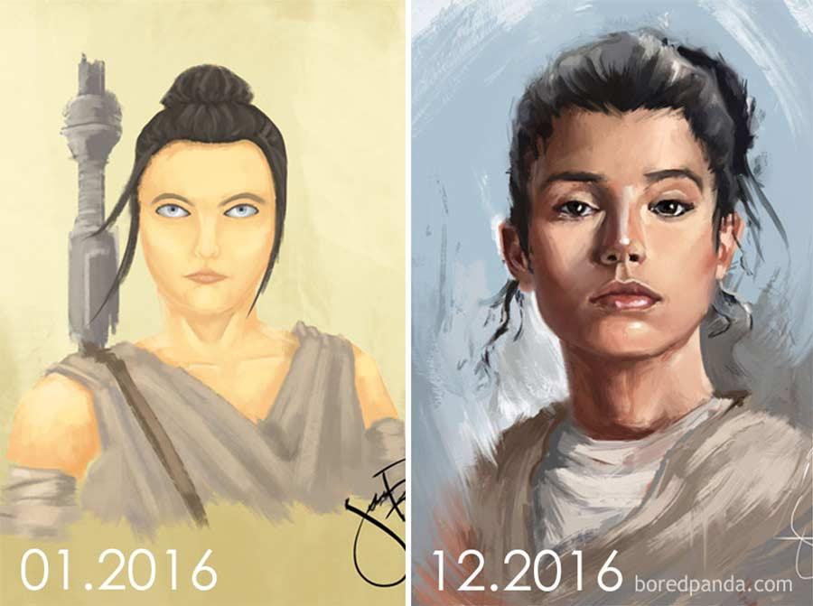 Jahre später das identische Motiv nochmals malen draw-this-again_06