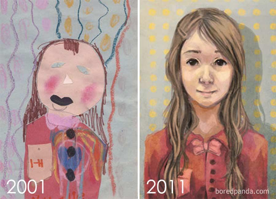 Jahre später das identische Motiv nochmals malen draw-this-again_08
