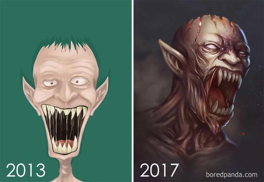 Jahre später das identische Motiv nochmals malen draw-this-again_11
