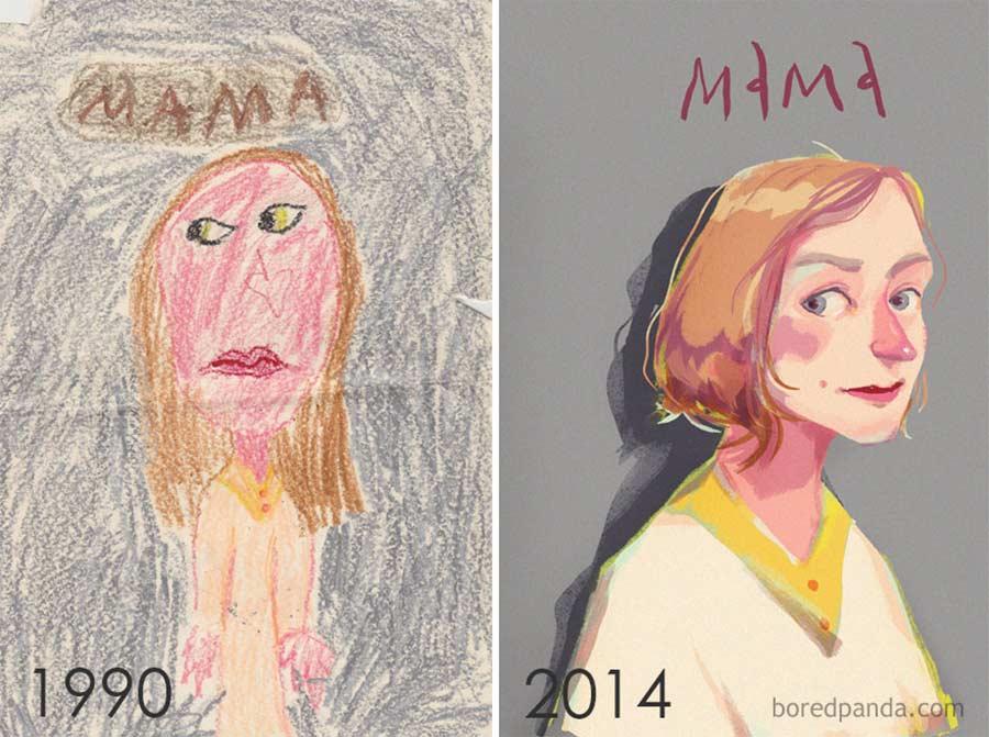 Jahre später das identische Motiv nochmals malen draw-this-again_12