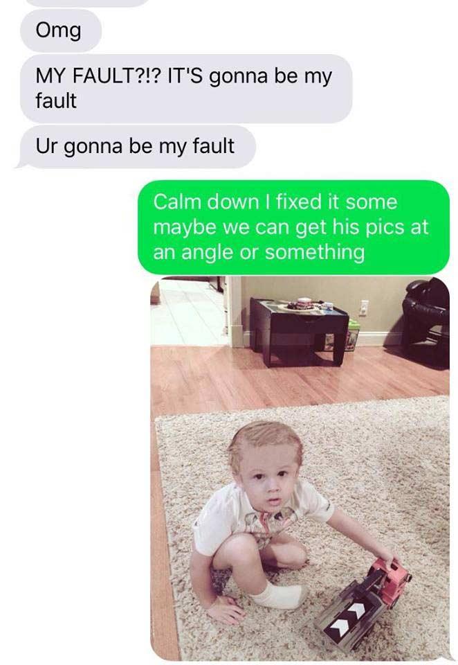 Vater spielt Ehefrau fiesen SMS-Streich imessage-kid-shaving-prank_06