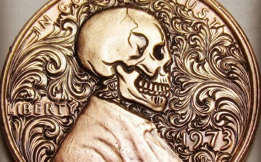 Totenkopf-Gravur einer Lincoln-Münze