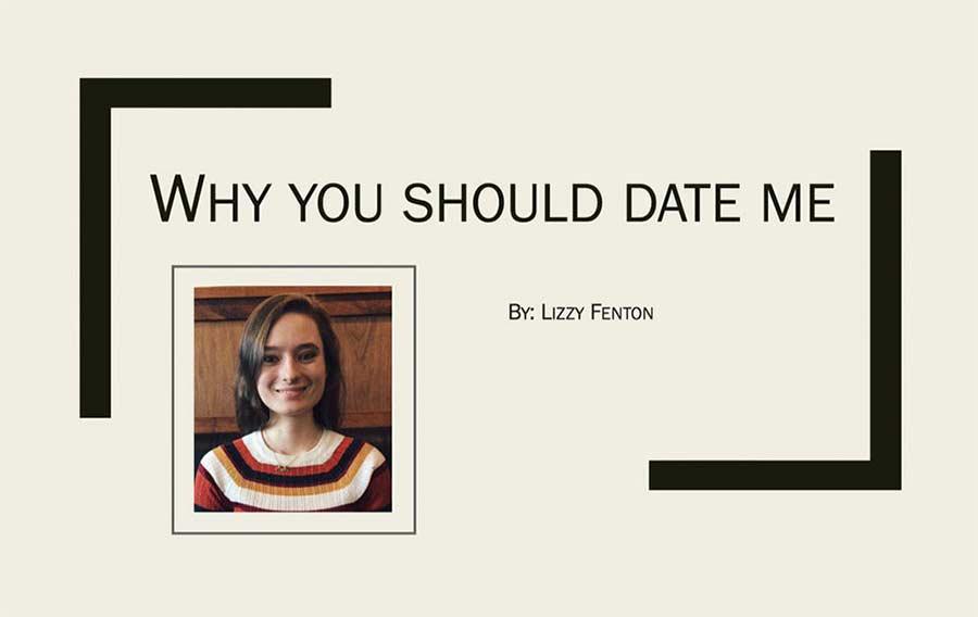 Frau schickt ihrem Schwarm Powerpoint-Präsentation über sich