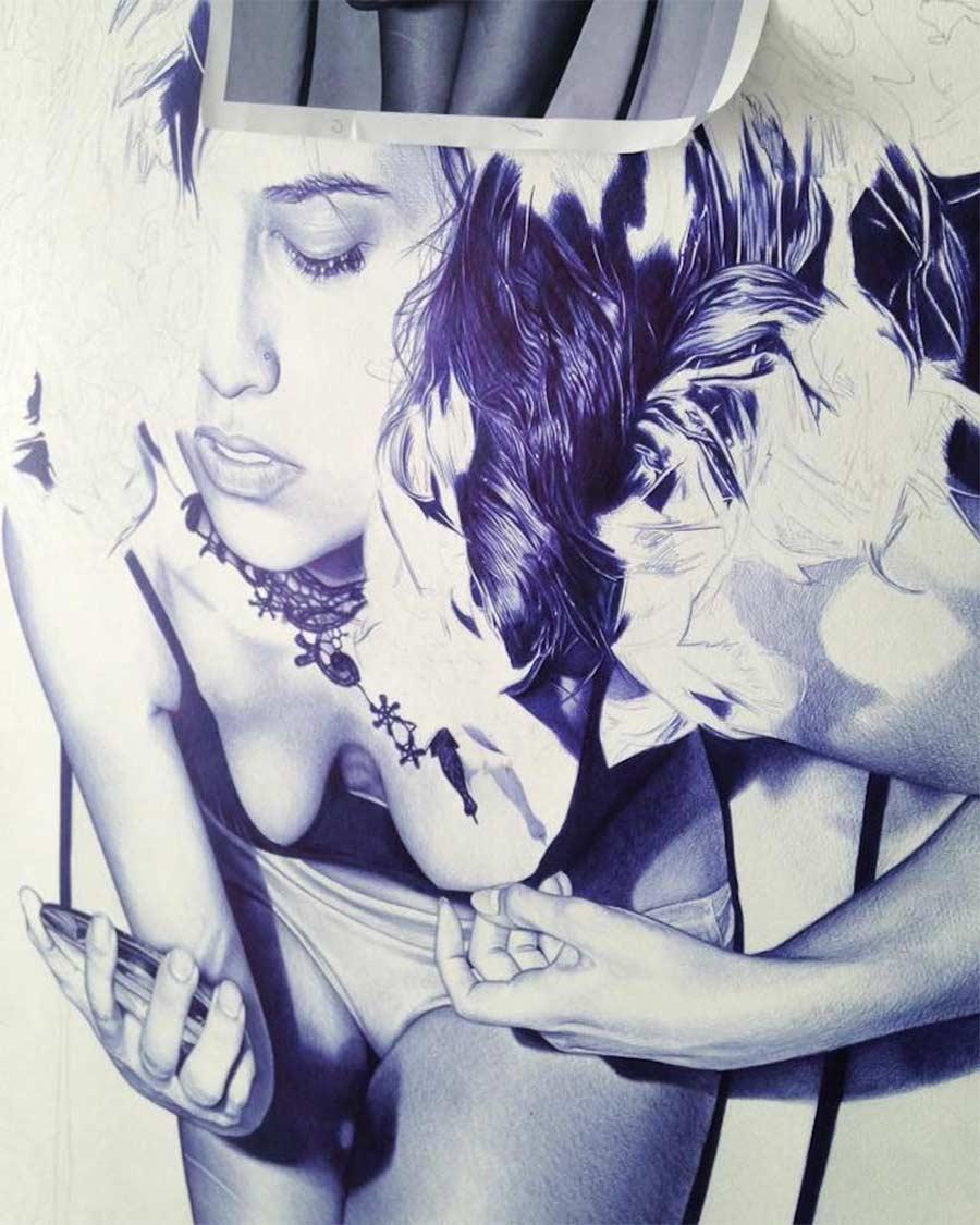 Kugelschreiber-Bilder von Alfredo Chamal Alfredo-Chamal-ballpoint-paintings_03