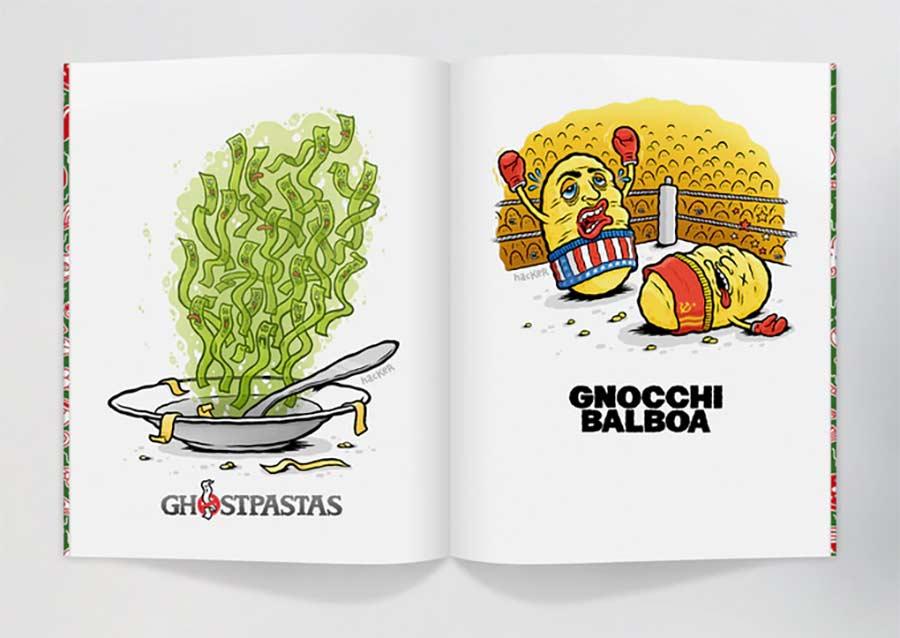 Ein Cartoonbuch voll kulinarischer Wortwitze
