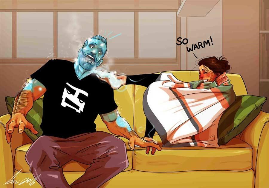 Eine Beziehung in Comic-Motiven