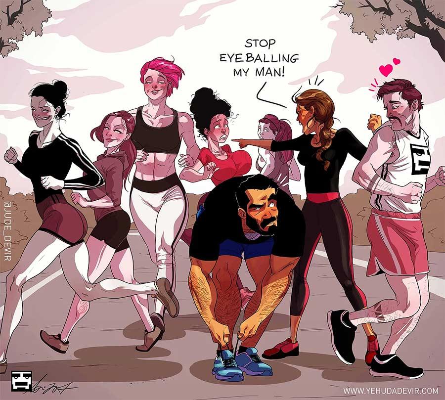 Eine Beziehung in Comic-Motiven Yehuda-Adi-Devir_07